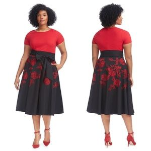 eSHAKTI Embroiderd Roses Marlow Twofer Dress *FLAW